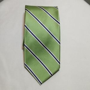 ROOSTER Lime Green Tie w/White & Dark Blue Stripes